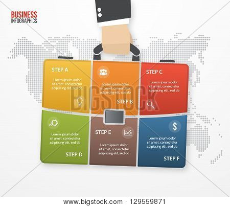 Vector infographic with businessman holding bag briefcase. Business and travel concept with 6 processes options parts steps for graphs charts diagrams presentation website layout.