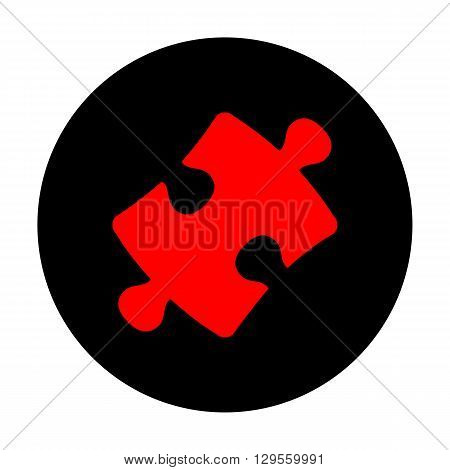 Puzzle piece flat icon. Red vector icon on black flat circle.