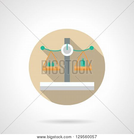 Yellow and green scales with weights with long shadow. Measurement equipment. Balance control and comparison. Round flat color style vector icon. Web design element for site, mobile and business.
