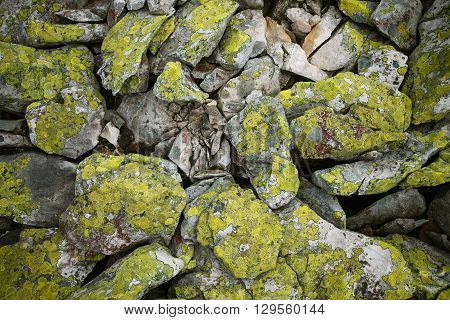 Background of basalt mountains rocks covered with green moss