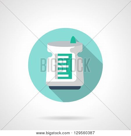 Dehumidifier device with long shadow. Household appliances, control air humidity inside. Round flat color style vector icon. Web design element for site, mobile and business.