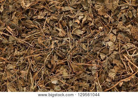 Organic Kasoori Methi or Dried fenugreek (Trigonella Foenum Graecum) leaves. Macro close up background texture. Top view.