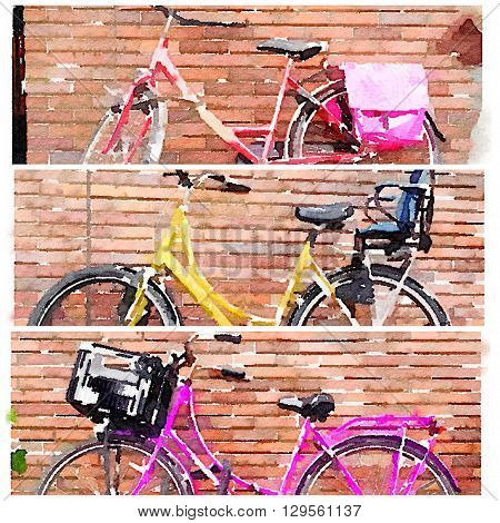 Three Dutch bicycles against brick walls arranged in a collage in 3 windows as a digital watercolor.