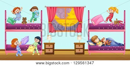 Children sleeping in bedroom illustration