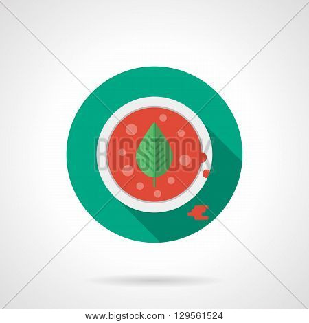 Red tomato soup with basil leaves in white dish. Vegetable menu for restaurants. Recipes with tomatoes. Round flat color style vector icon. Web design element for site, mobile and business.