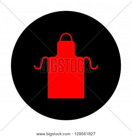 Apron simple icon. Red vector icon on black flat circle.