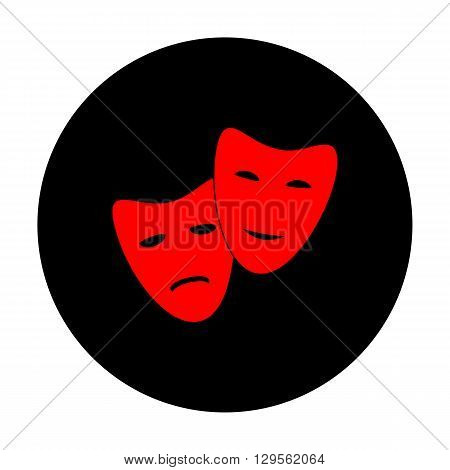 Theater icon with happy and sad masks. Red vector icon on black flat circle.