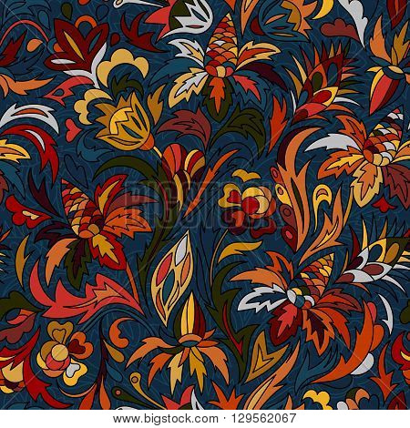 Vector flower pattern. Seamless botanic texture, flowers illustrations. Floral pattern in doodle style, spring floral background. Hot colors background on navy blue
