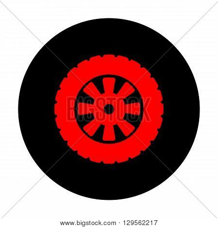 Road tire icon. Red vector icon on black flat circle.