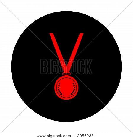 Medal simple Icon. Red vector icon on black flat circle.