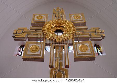 KLEINOSTHEIM, GERMANY - JUNE 08: Main altar in the Saint Lawrence church in Kleinostheim, Germany on June 08, 2015.