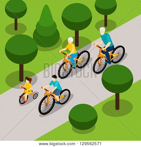 Grandparents with two children cycling in park isometric banner on  retired people active lifestyle abstract vector illustration