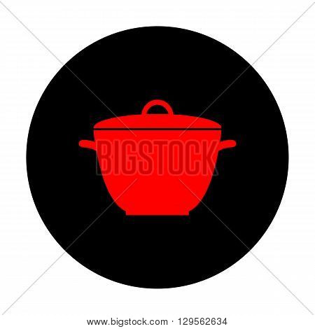Saucepan simple Icon. Red vector icon on black flat circle.