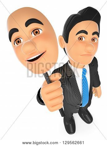 3d business people illustration. Businessman sad with a cheerful mask. Isolated white background.