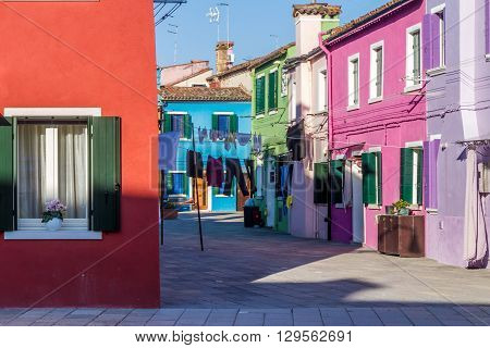 Colorful houses in Burano near Venice, Italy.