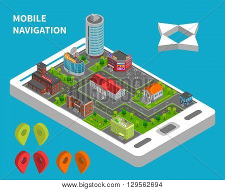 City constructor isometric vector illustration for mobile navigation service with urban landscape on phone screen