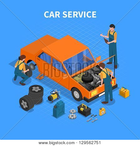 Car service work process isometric with workers repairing and testing the car and different tools around vector illustration