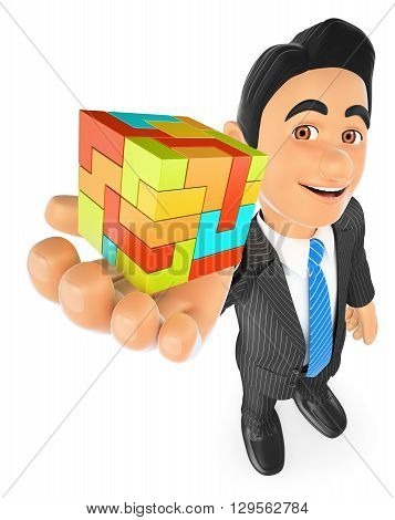3d business people illustration. Businessman with a cube. Create concept. Isolated white background.