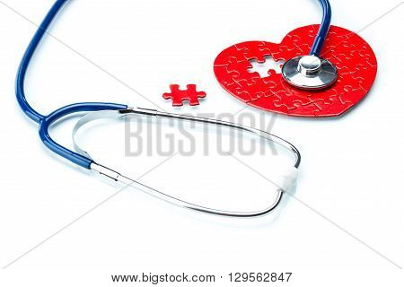 Heart Disease, Puzzle Heart With Stethoscope