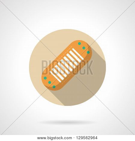 Yellow plaster with long shadow. First aid, fixation and protection of skin wounds from damage. Pharmacy marketing. Round flat color vector icon. Web design element for site, mobile and business.