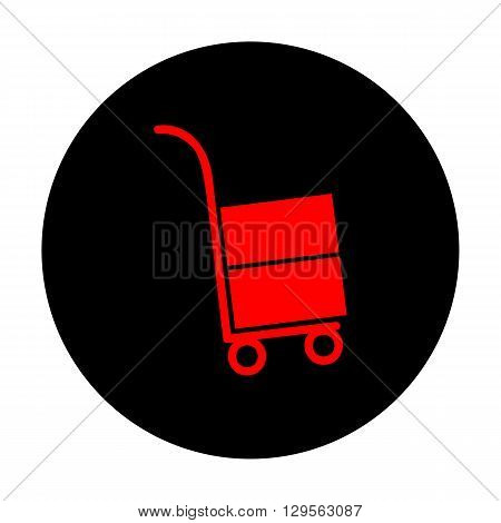 Hand truck icon. Red vector icon on black flat circle.