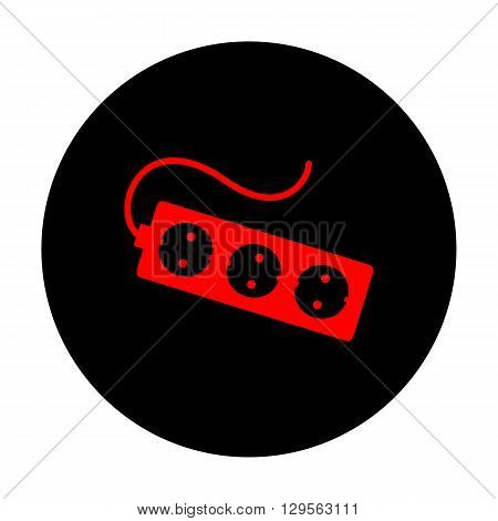 Electric extension, electric plug icon. Red vector icon on black flat circle.