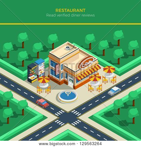 Top view on isometric city landscape with crossroad restaurant building fountain and tables under umbrellas on sidewalk vector illustration