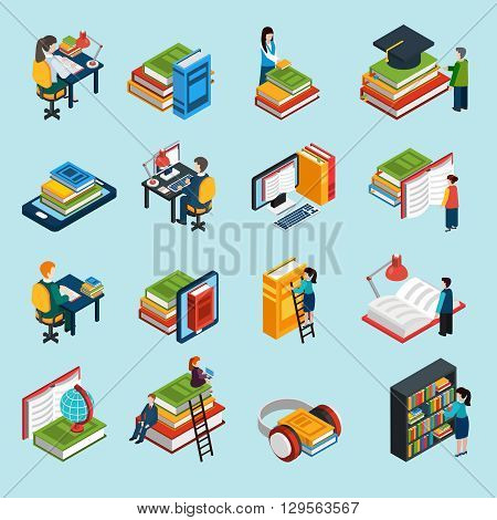 Isometric abstract library icons set of classic audio and electronic books with reading people isolated vector illustration