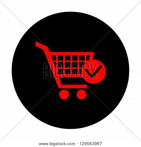 Shopping Cart and Check Mark Icon. Red vector icon on black flat circle.