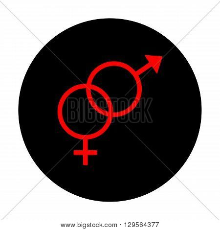 Sex symbol sign. Red vector icon on black flat circle.