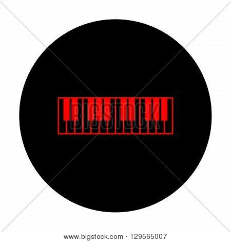 Piano Keyboard sign. Red vector icon on black flat circle.
