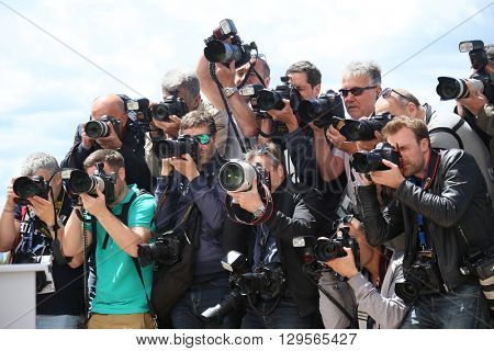 Photographers attends the 'Money Monster' photocall during the 69th annual Cannes Film Festival at the Palais des Festivals on May 12, 2016 in Cannes, France.
