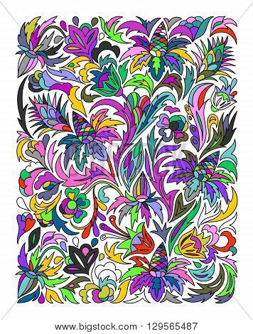 Ethnic colored floral zentangle, doodle background pattern rectangle in vector. Henna paisley mehndi doodles design. Good for cover design. Neon colors.