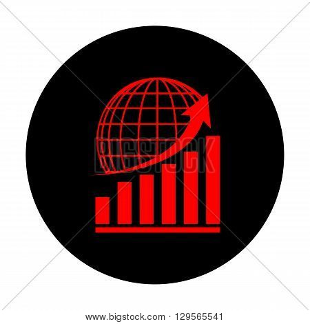 Growing graph with earth. Red vector icon on black flat circle.