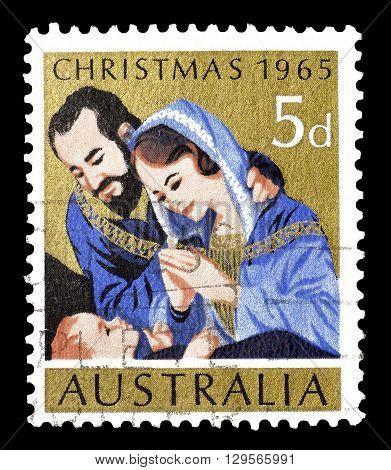 AUSTRALIA - CIRCA 1965 : Cancelled postage stamp printed by Australia, that shows Christmas motive.