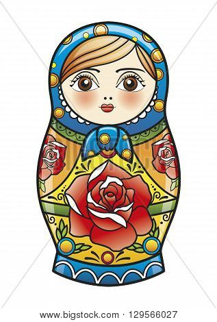 colorful russian wooden nesting doll vector illustration