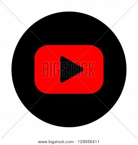 Play sign. Red vector icon on black flat circle.
