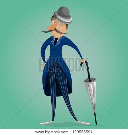 Gentleman with umbrella. Funny cartoon character. Vector illustration in retro style