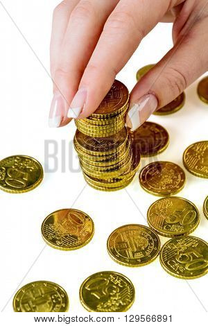 save woman with stack of coins when money