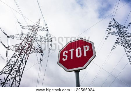 power line and stop sign