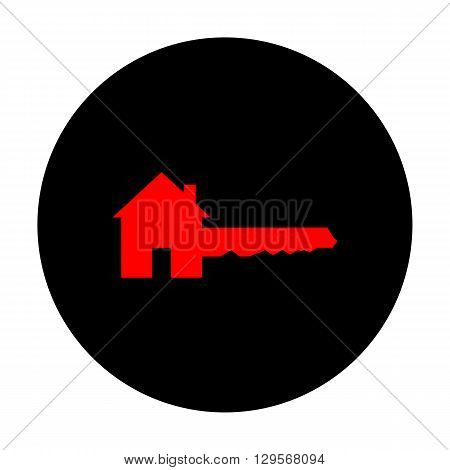 Home Key sign. Red vector icon on black flat circle.