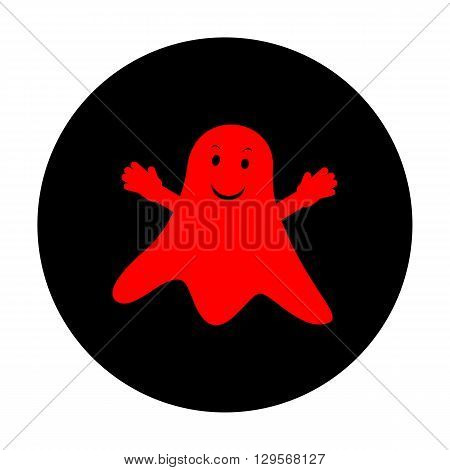 Ghost isolated sign. Red vector icon on black flat circle.