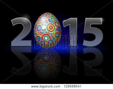 Easter holiday in 2015: metal numerals with colorful egg instead of zero having weak reflection. Illustration on black background.