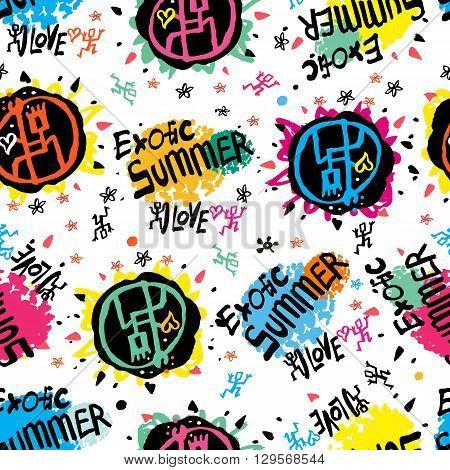 Youth summer seamless pattern. Seamless pattern of spots, graffiti, splashes of watercolor handmade