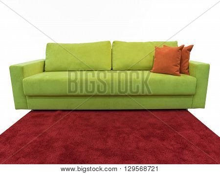 light green sofa with pillows on the red carpet
