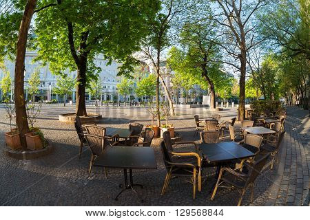 Street cafe in Bratislava early in the morning Slovakia