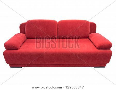 Red  sofa with pillows, isolated on white.