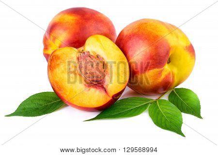 Nectarine organic fruits with leaves on white background.