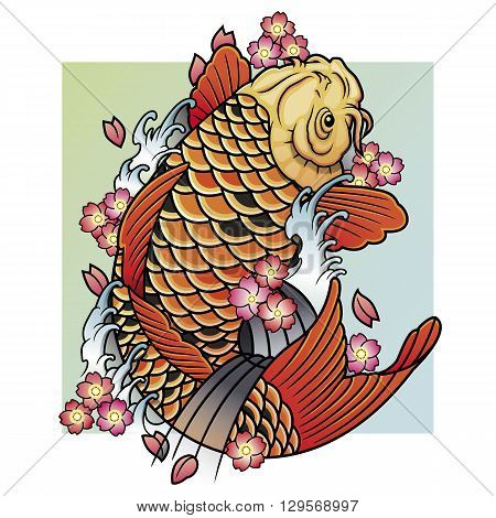 bright colored traditional oriental koi fish vector illustration