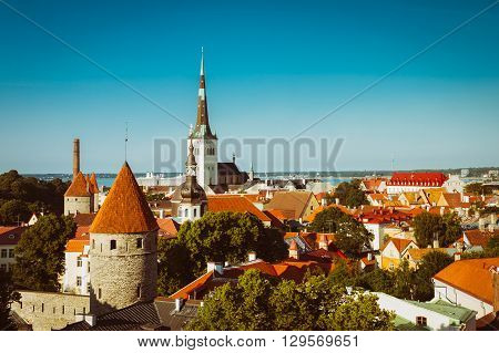 Scenic View Cityscape Old City Town Tallinn In Estonia. Europe